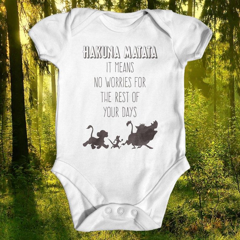 bac37f951 Lion King Hakuna Matata Baby Bodysuit Disney Baby Clothes | Etsy