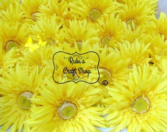 Yellow silk flowers etsy yellow double silk gerber daisy set of 3 diy hair clip hair accessorie craft supplies bridal mightylinksfo