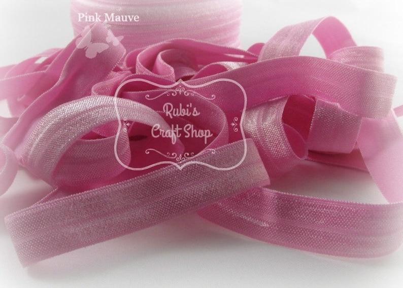 Pink Mauve Fold Over Elastic 5/8 By the Yard Headband image 0