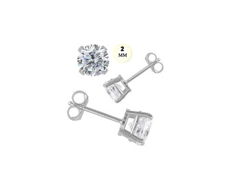 83dcecaad 14k White Gold Stud Earring Aprx .24 Carat Total Weight, 2mm Each Round  Simulated Diamond Earring. Prong Setting & Friction Style Post