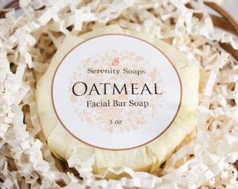 Oatmeal Facial Soap Bar , Artisan Soap , Natural , Handmade , Organic , Vegan