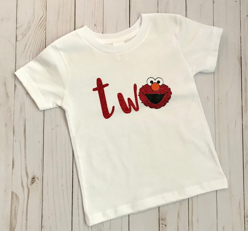 FREE SHIPPING 2nd Birthday Shirt Elmo Two Girl