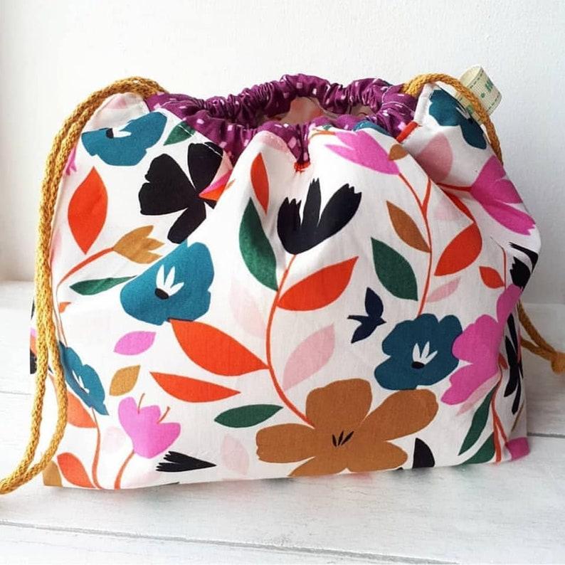 SewingKnittingSock Bag With Pockets Project Bag PurpleMustardFloral