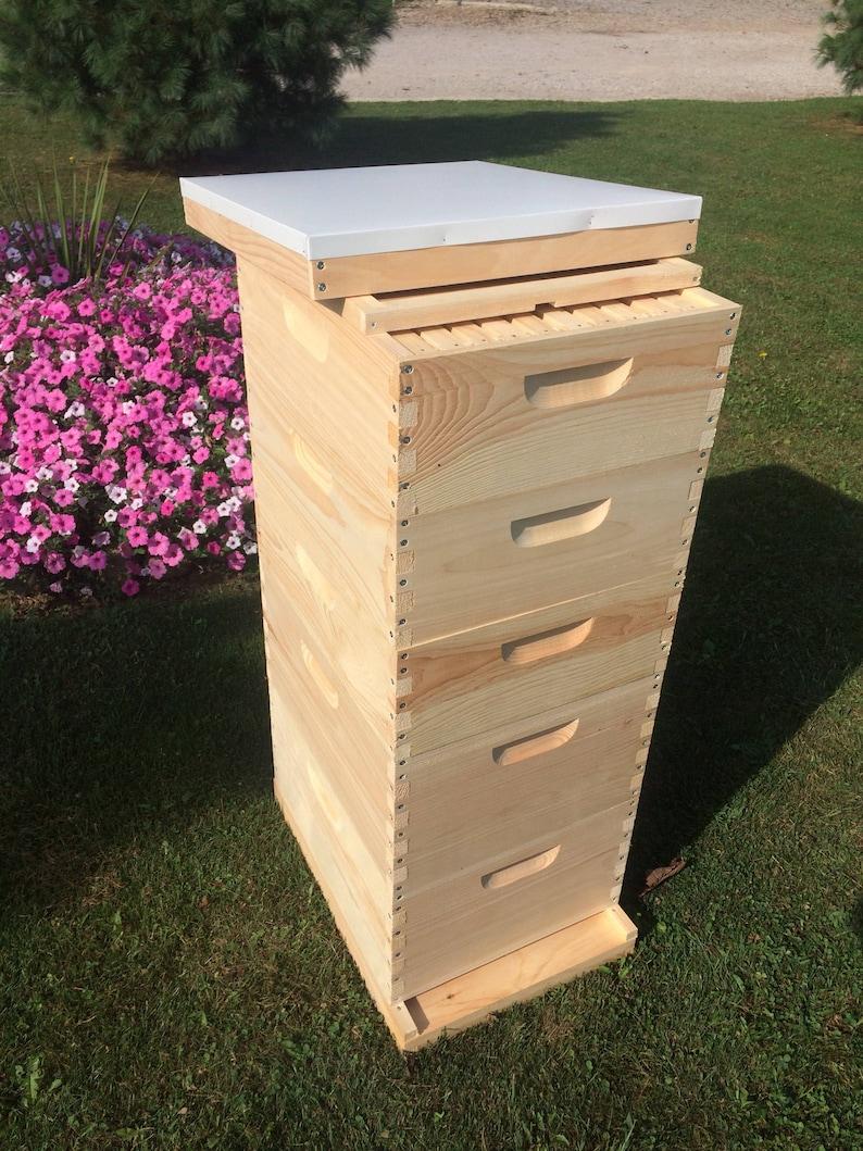 2 Deep & 3 Medium w/Frames Beekeeping Bee Hive kit image 0
