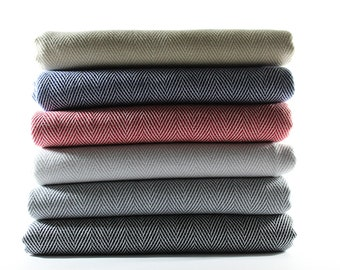 Herringbone Turkish Towel Blanket Sofa Throw Peshtemal Turkish Towel Bath Towel | Mon Castle