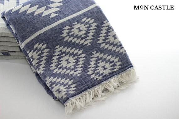 Kilim Aztec Blanket Double Sided Throw Blanket Bohemian Etsy Fascinating Navy Cotton Throw Blanket