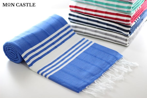 Thasos Royal Blue Turkish Towel Bath Towel Peshtemal Etsy