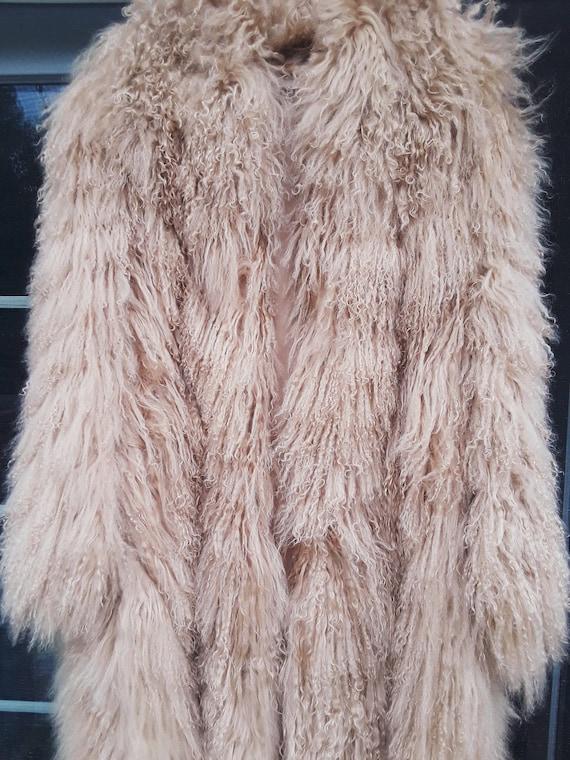 Tibetan Mongolian Lamb Natural Fur Coat L XL