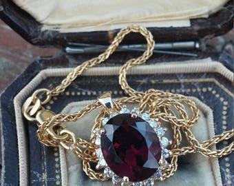 14k Gold Diamond Garnet Pendant