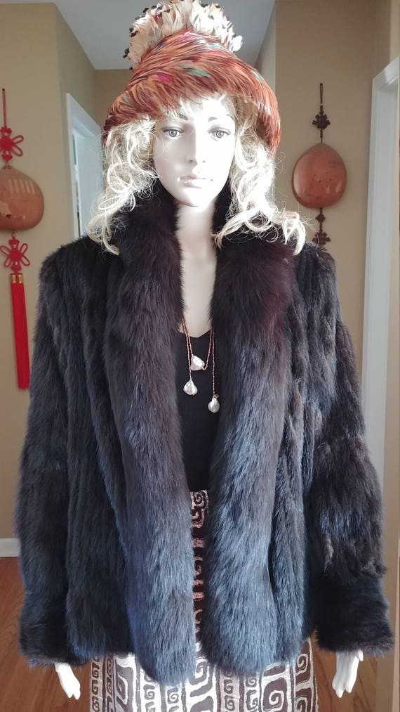 Mink Fur Jacket With Fox Fur Stream S-M