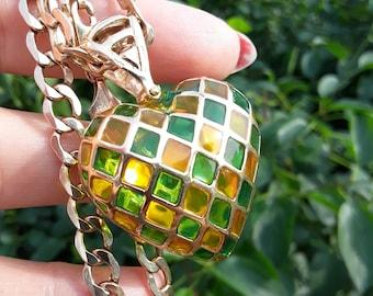 14k 10k Gold Heart Pendant Chain Necklace Stunning Unique 24.5 Grams