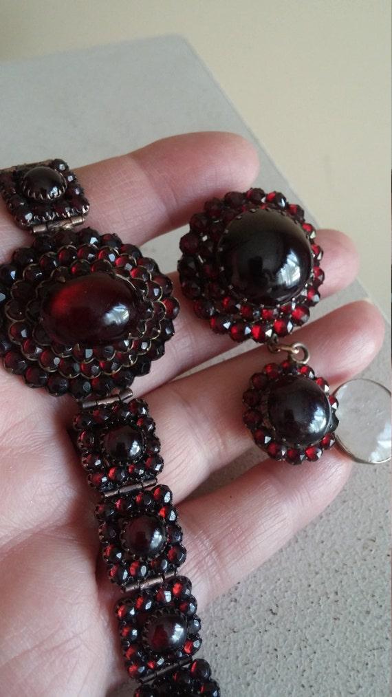 Bohemian Garnet Set Bracelet and Locket Pendant An