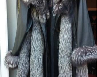 Silver Black Fox Leather Fur Coat L