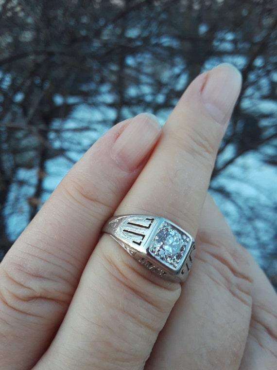Platinum  0.85ct Old Mine Cut Center Diamond Weddi