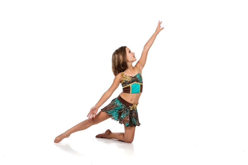 05d08aea3767 Girls Lyrical Two Piece Dance Costume Teal/Brown/Gold with | Etsy