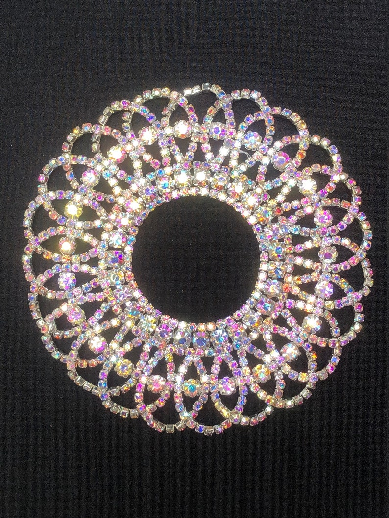 Round Stones Cosplay Embellishment Skating Trim AB Stones Rhinestone Applique Dancewear Intricate Design Circle Applique