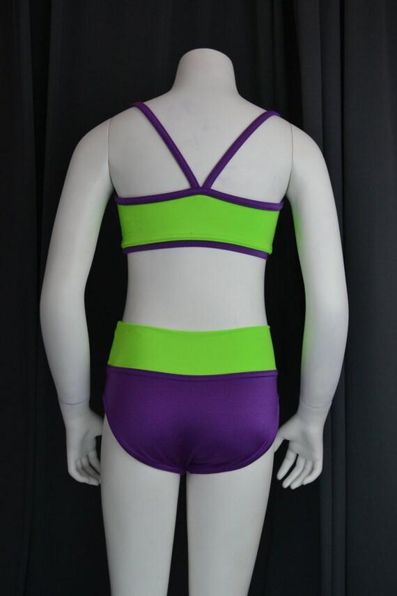 Gymnastic Stretch Lycra Vest Top Leggings Matching Neon Bright Kids Dance Tumble