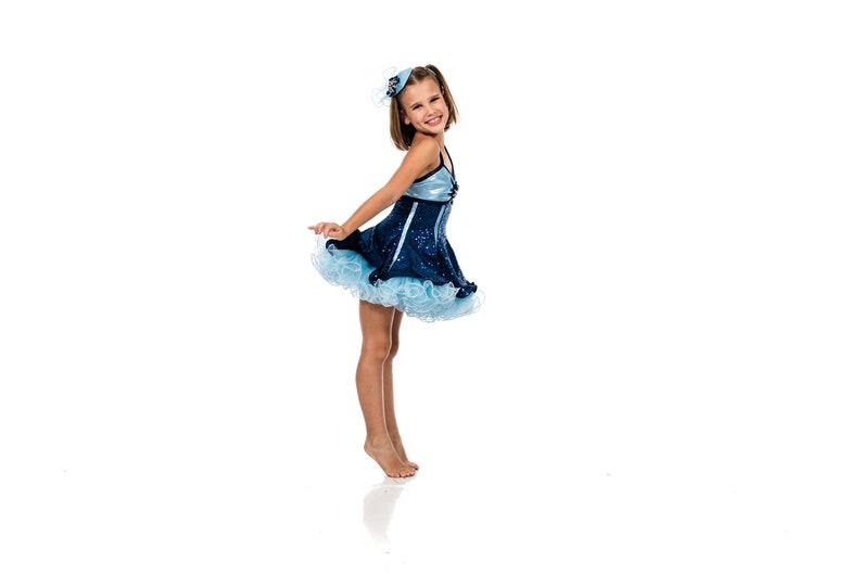 Empire Dress Performance Show Dance Dancewear Costume Child Size 7 Navy Sequence Mystique Blue and Light Blue Petticoat cute Teardrop Hat