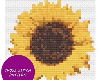 Normal sunflower cross stitch pattern