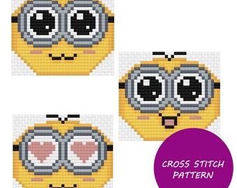 Cute minion cross stitch pattern