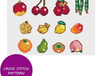Animal Crossing Fruits Cross Stitch Pattern