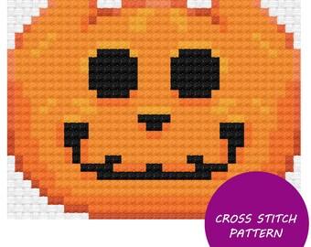 Orange Jack-O-Lantern Cross Stitch Pattern