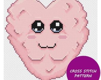 Pink fluff heart cross stitch pattern