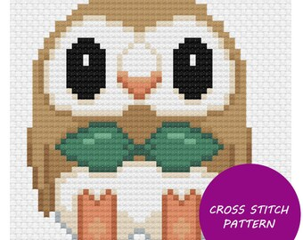 Rowlet cross stitch pattern