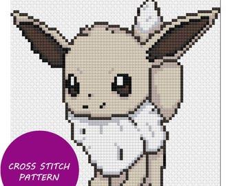 Shiny Eevee cross stitch pattern
