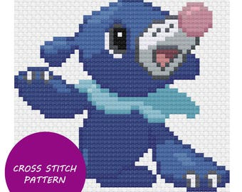 Popplio cross stitch pattern