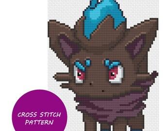 Shiny Zorua cross stitch pattern