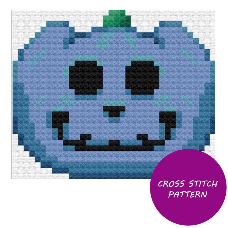 Blue Jack-O-Lantern Cross Stitch Pattern image 0