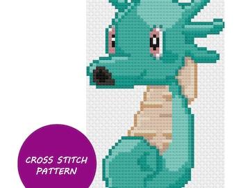 Shiny Horsea cross stitch pattern
