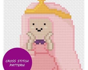 Princess Bubblegum cross stitch pattern