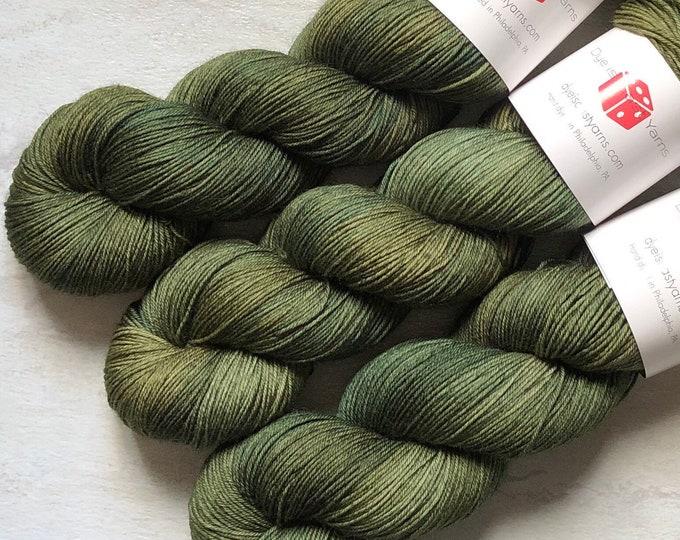 Featured listing image: Olive You - Olive Green - Hand Dyed Yarn - Squish Wish Sock - 75% Superwash Merino Wool/25 Nylon