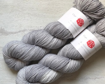 Silver Lining - Gray - Hand Dyed Yarn - Squish Wish Sock - 75% Superwash Merino Wool/25 Nylon
