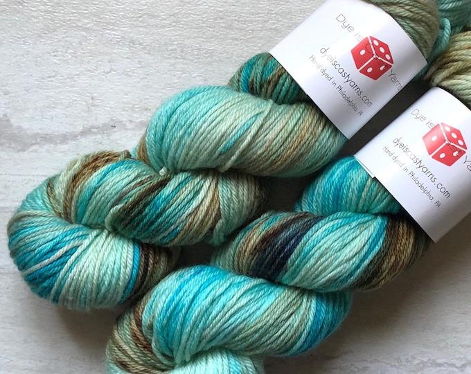 Cenote - Aqua Blue, Brown, Beige - Hand Dyed Yarn - Squish Like Grape Worsted - 100% Superwash Merino Wool