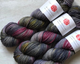 Vampire Empire - Gray, Wine, Gold, Purple - Hand Dyed Yarn - Squish Like Grape Worsted - 100% Superwash Merino Wool