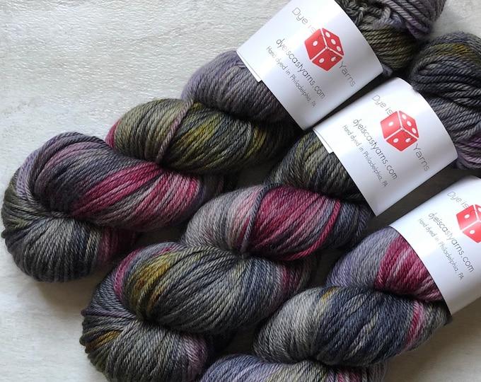Vampire Empire - Gray, Wine, Gold, Purple - Hand Dyed Yarn - Squish Like Grape Worsted - 100% Superwash Merino Wool
