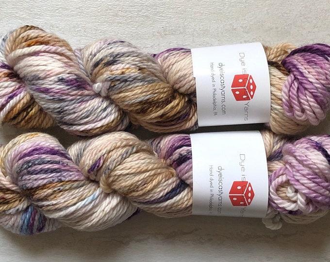 Antique Mystique - Purple, Brown, Gray - Hand Dyed Yarn - Plum Squishy Bulky - 100% Superwash Merino Wool