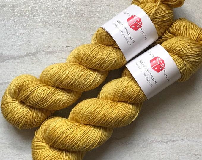 Bee Pollen - Mustard Yellow - Hand Dyed Yarn - Squish Wish Sock - 75% Superwash Merino Wool/25 Nylon
