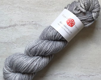 Silver Lining - Gray - Hand Dyed Yarn - Plum Squishy Bulky - 100% Superwash Merino Wool