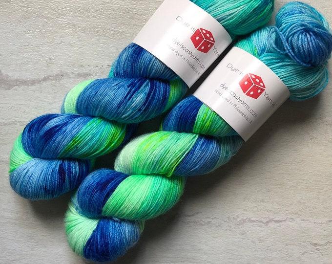 I Dream of Mermaids - Blue, Aqua, Green - Hand Dyed Yarn - Squish Wish Sock - 75% Superwash Merino Wool/25 Nylon