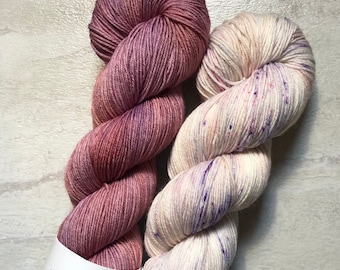 Hand Dyed Speckled Sock Yarn Silver Lining