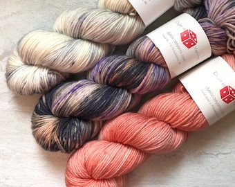 Odyssey Shawl Kit - Fade Kit - Gray, Purple, Peach - Hand Dyed Yarn - Squish Like Grape DK - 100% Superwash Merino Wool