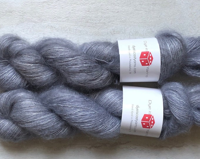 Silver Lining - Light Gray - Hand Dyed Yarn - Floof Lace - 72% Kid Mohair/28 Silk