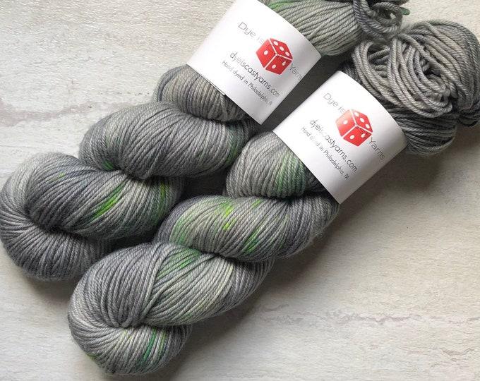 Zombie - Gray, Green - Hand Dyed Yarn - Squish Like Grape DK - 100% Superwash Merino Wool