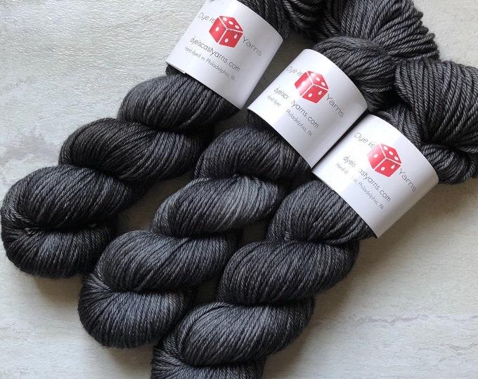 Ghost Mist - Charcoal Gray - Hand Dyed Yarn - Squish Like Grape Worsted - 100% Superwash Merino Wool
