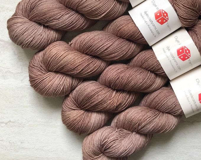 Iced Mocha - Sable Brown - Hand Dyed Yarn - Squish Wish Sock - 75% Superwash Merino Wool/25 Nylon
