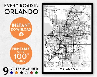 Florida Map Orlando.Portland Map Print Printable Portland Map Art Oregon Map Etsy